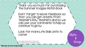 Summer Image Match Book for Life Skills and Autism Classrooms