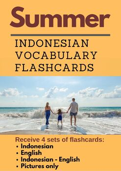 Summer Indonesian Vocabulary Flashcards | Musim Panas | Bahasa Indonesia