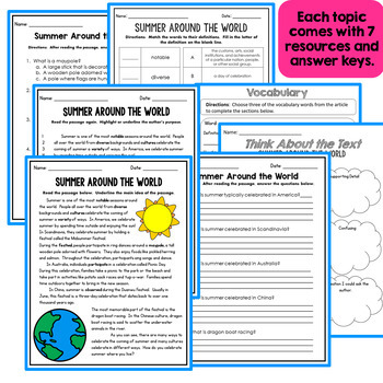 Summer Informational Text - Close Reading - Comprehension and More!