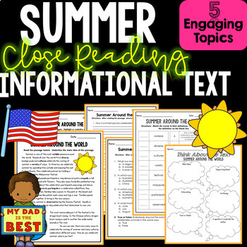 Summer Informational Text - Close Reading - Comprehension