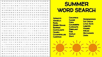 Summer Ingredient Word Search; FACS, Culinary, Bellringer Seasons, Cooking, End