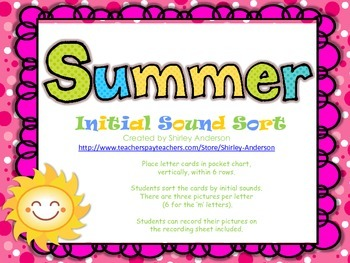 Summer Initial Sound Sort (Great for Pocket Chart)