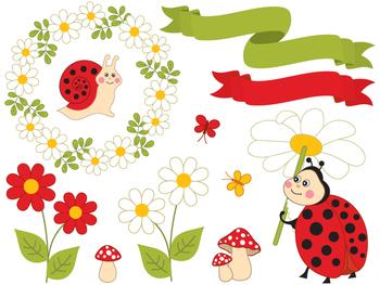 Summer Insects Clipart - Digital Vector Ladybird, Bee, Snail, Ladybug Clip