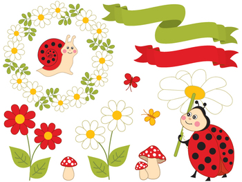 Summer Insects Clipart - Digital Vector Ladybird, Bee, Sna