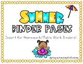 Summer Insert for Adapted Homework Binder/Work Binder Special Education