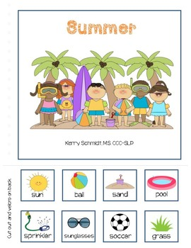 Summer:  Interactive Vocabulary Book (AAC, Low verbal, non-verbal)