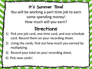 Summer Jobs: Multiplying Fractions by Whole Numbers (Small Group/Center)