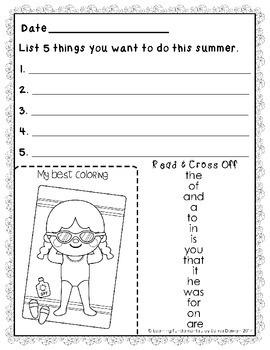 Summer Packet   Kindergarten entering Grade 1