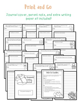 Summer Journal Prompts Kindergarten first and second