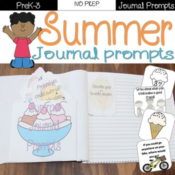 Summer Journal Prompts Task Cards distance learning
