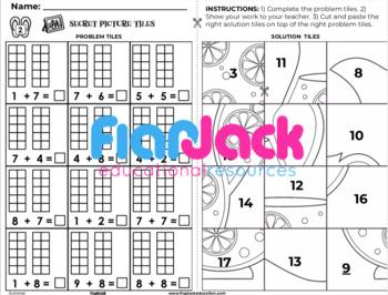 Summer K-1st Grade Math Skills Worksheets | Secret Picture Tiles