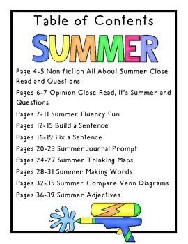 Summer Keeping Skill Sharp: Reading and Writing