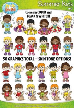 Summer Kid Characters Clipart {Zip-A-Dee-Doo-Dah Designs}