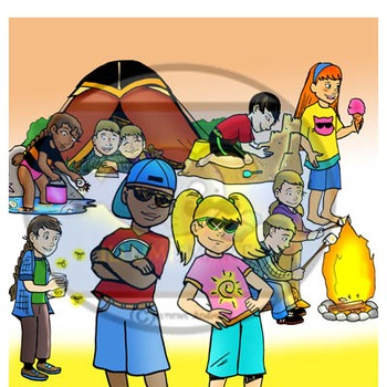 Summer Kids 16pc. Clip-Art Set ( 8 BW and 8 Color)