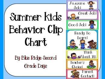 Summer Kids Behavior Clip Chart