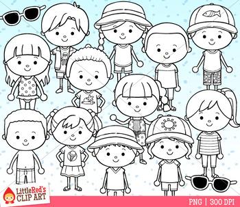 Dressed for Summer Kids Clip Art