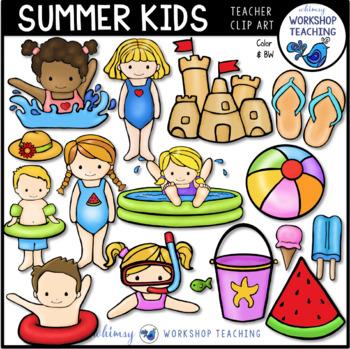 Summer Kids Clip Art (43 graphics) Whimsy Workshop Teaching