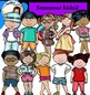 Summer Kids Clip Art Bundle- color and B&W-58 items!