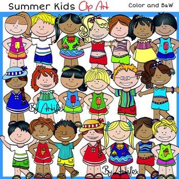 Summer Kids Clip Art -Color and B&W-