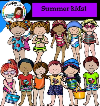 Summer Kids Clip Art set1- color and B&W