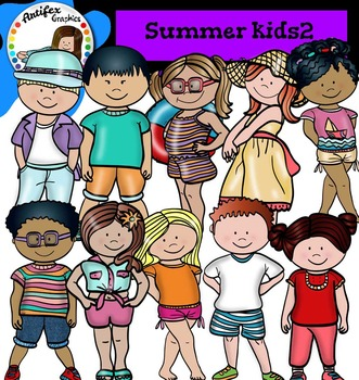 Summer Kids Clip Art set2- color and B&W