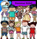 Summer Kids Clip Art set2- color and B&W