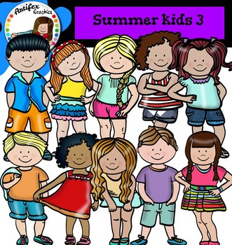 Summer Kids Clip Art set3- color and B&W