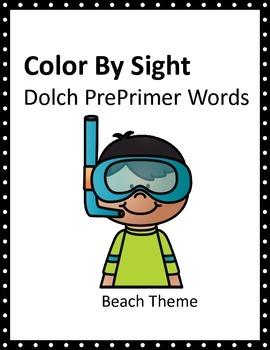 Summer Kids Dolch Pre-Primer Color By Sight SAMPLER