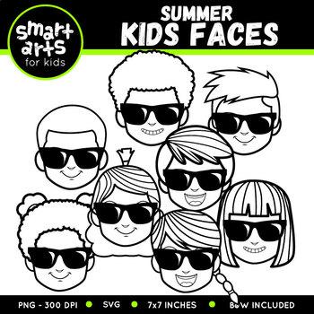 Summer Kids Faces Clip Art