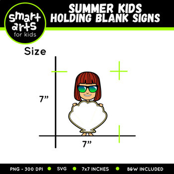 Summer Kids Holding Blank Signs Clip Art
