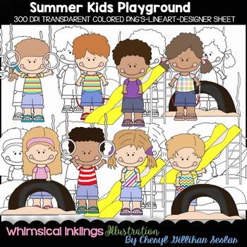 Summer Kids Playground Clipart Collection