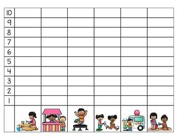 Summer Kids Roll & Graph Math Activity