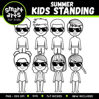 Summer Kids Standing Clip Art