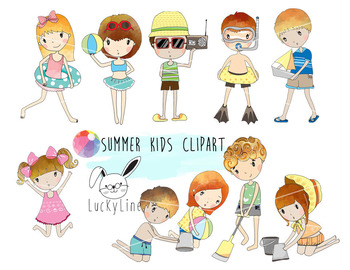 Summer Kids clipart  instant download PNG, JPEG file - 300
