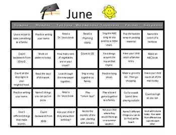 Summer Kindergarten Calendar