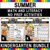 Summer Math and Literacy Worksheets (Kindergarten Bundle)