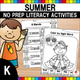 Summer Kindergarten Language Arts Mega Review No Prep