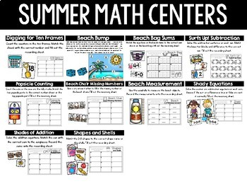 Summer Kindergarten Math & Literacy Centers