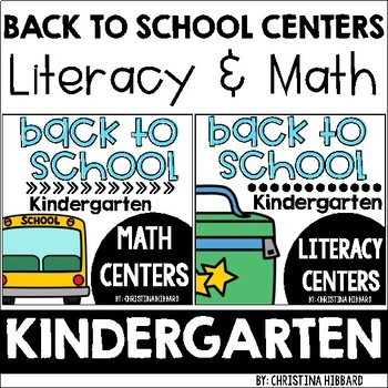 Back To School Kindergarten Math & Literacy Centers Bundle