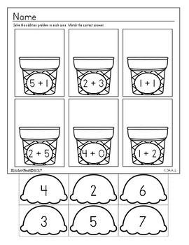 Summer - Kindergarten Math and ELA Practice - FREEBIE!