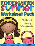 Summer Review Kindergarten Math and Literacy Worksheet Pack
