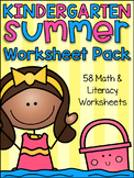 Summer Review Kindergarten Math and Literacy Worksheet Pack