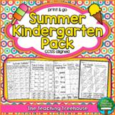 Summer Kindergarten Pack, No Prep, CCSS Aligned