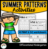 Summer Kindergarten Patterns Worksheets - Print and Go - AB, AAB, ABB, ABC
