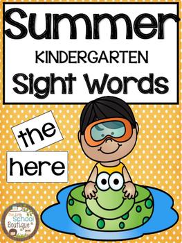 Summer Kindergarten Sight Words