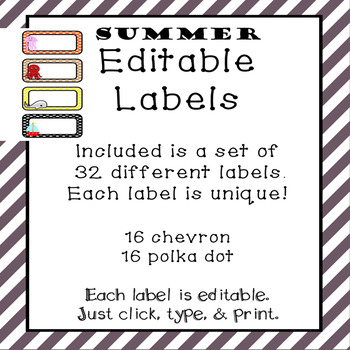 Summer Labels- Editable