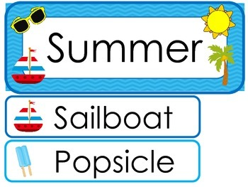 Summer  Word Wall Weekly Theme Posters.