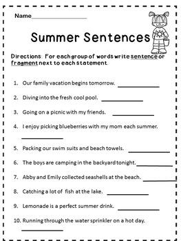 Summer Language Arts Activites
