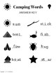 Summer Language Arts Fill in the Missing Letter Camping Worksheet
