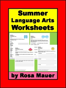 Summer Language Arts Worksheets